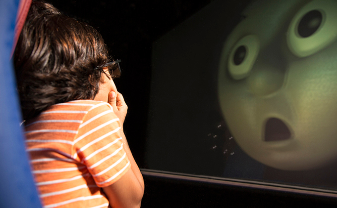 Child watching Thomas the Tank Engine in 4D Cinema